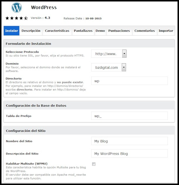 wordpress-softaculous
