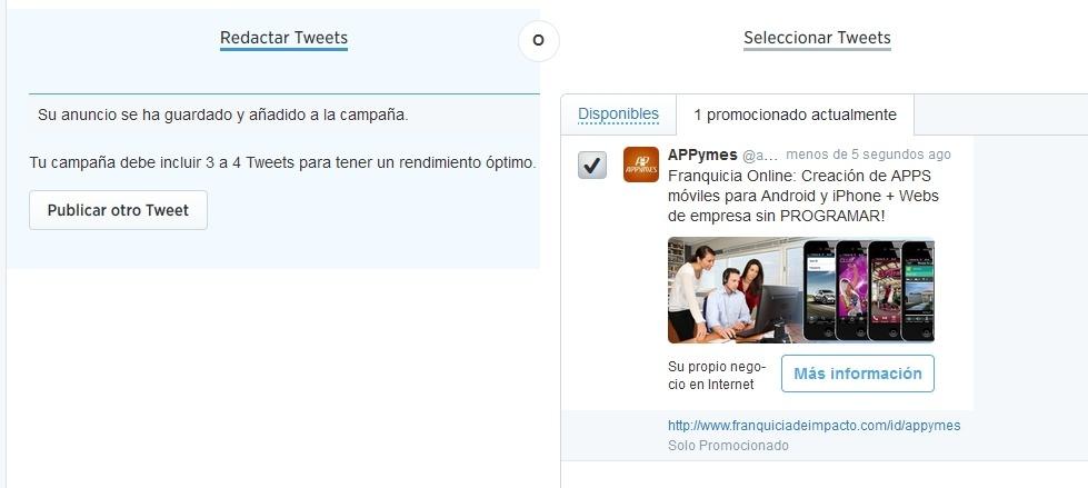 elegir publicar otro tweet en twitter ads