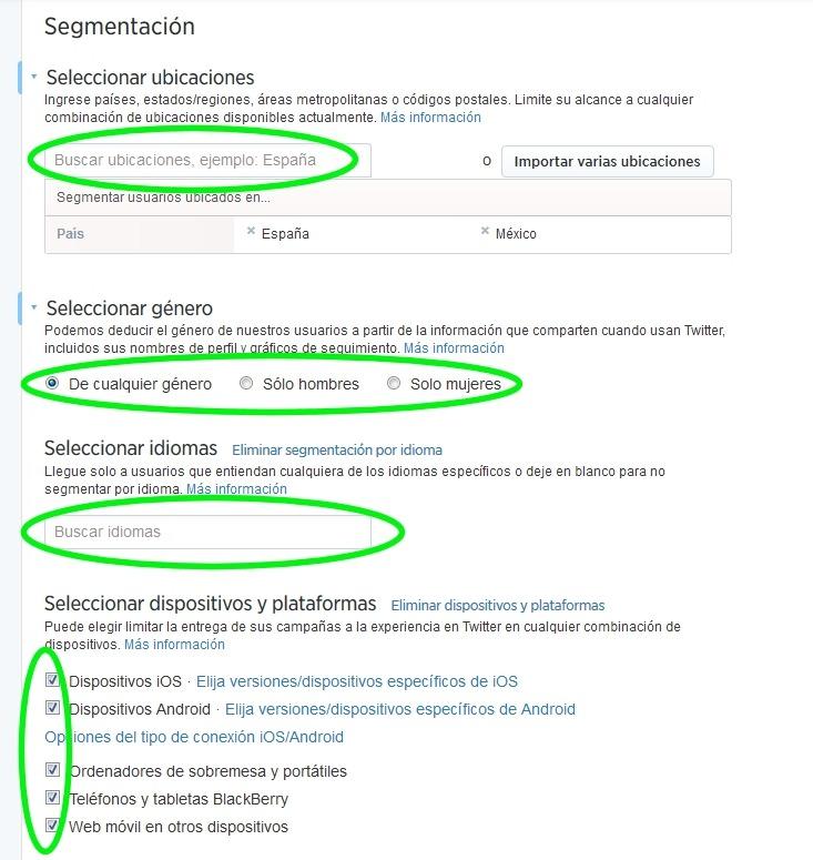 elegir segmentacion twitter ads