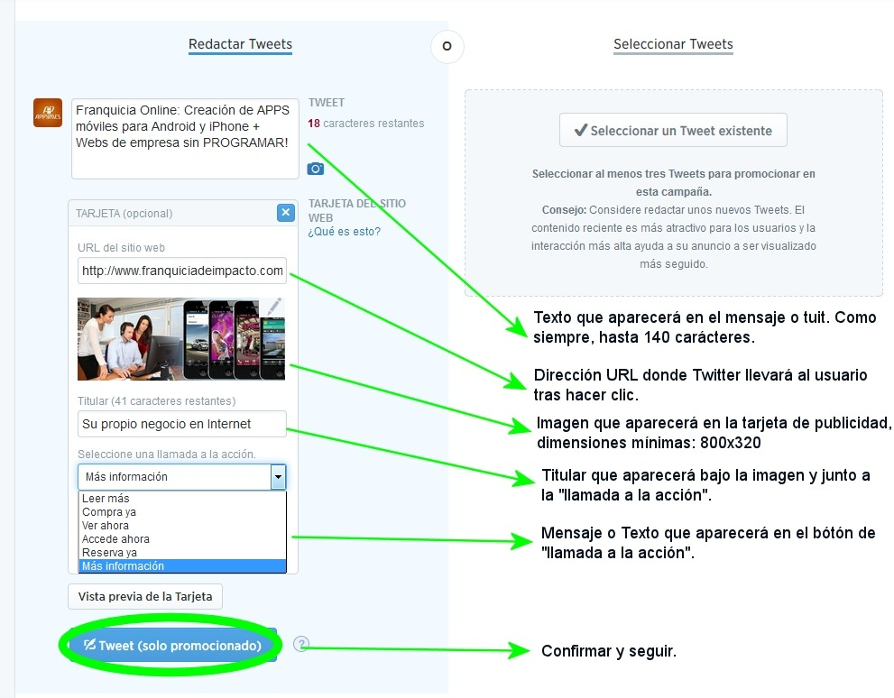 configurar tarjeta de publicidad en twitter ads